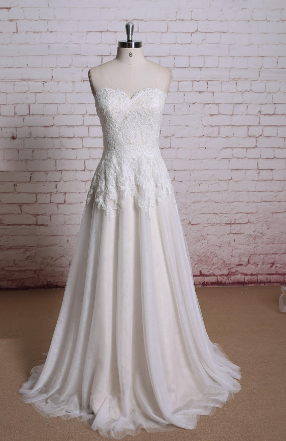 Champagne Lace Wedding Dress, Bridal Gown, Wedding Gown, A-line ...