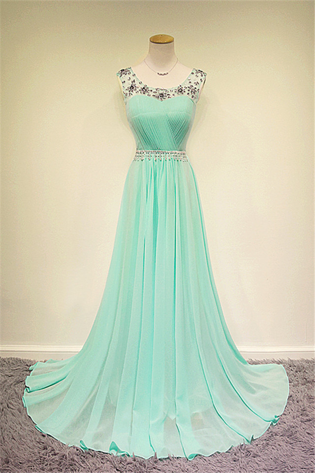 New Design Custom Beaded Long Mint Chiffon Prom Dress Formal Evening Party Press Wedding Bridesmaid