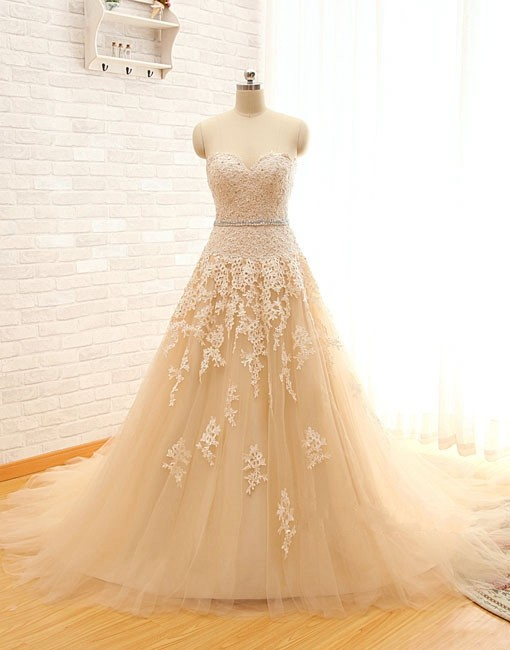 Champagne Lace Applique Prom Dress, Elegant Sweetheart Chiffon ...